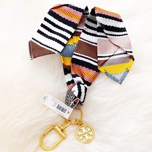 NWT Tory Burch Bag Striped Scarf Key Fob